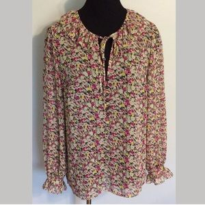 Ann Taylor LOFT Blouse Ruffle Top Shirt Women's M